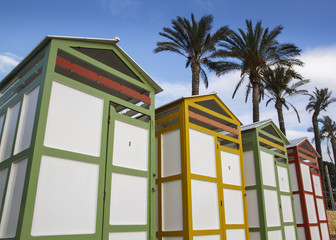 Colored bathing huts