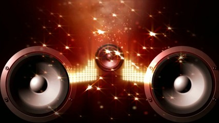 Speakers with equalizer between, twinkling stars background