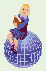 Back to School.  Little  schoolgirl with book and globe