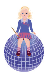 Back to School. Little cute schoolgirl and globe