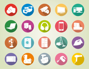 colorful vector icons of home appliances