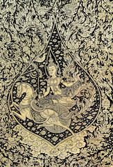 Ancient Thai gold leaf painting art