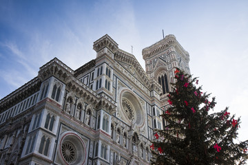 The famous cathedral in Florence with a christmas tree