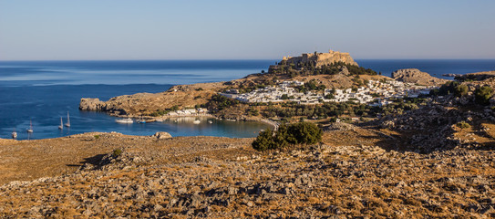 View of Lindos and Saint Pauls bay, Rhodes island, Greece