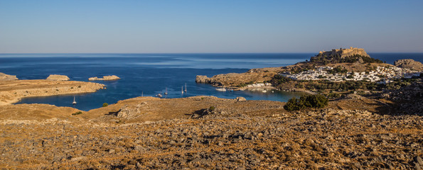 Lindos, Saint Pauls bay, Rhodes island, Greece