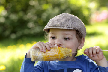 Boy has corn