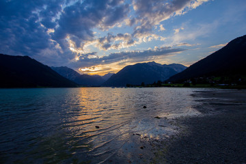 Beatiful lake in Austria, Achensee, on sunset time