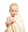 The beautiful baby in yellow towel