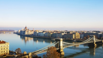 Parliament and the Chain Bridge in Budapest, Hungary