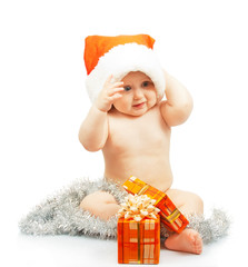 Positivity naked child in Santa Claus red