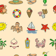 Vector hand drawn seamless pattern with beach objects