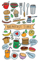 Vector hand drawn breakfast morning coffee and food icons