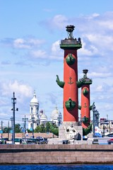 View of St. Petersburg. Rostral columns in sunny day