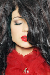 Fashion woman with dark hair and makeup, beautiful female face c