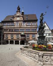Tübingen Fontaine de Neptune en face de l'hôtel de ville