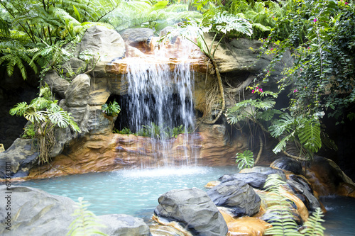 Fotobehang Centraal-Amerika Landen Little pool with a waterfall and hot thermal water, Costa Rica