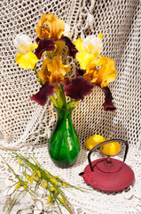 still life bouquet with irises