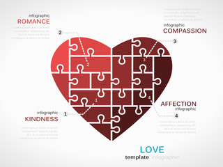 Love concept infographic template with heart
