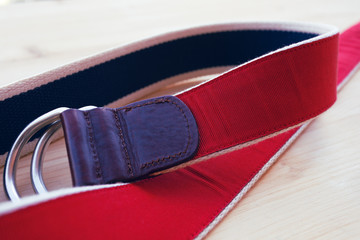 red and blue casual belt