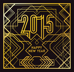 2015 Greeting Card in Art Deco Gold Style