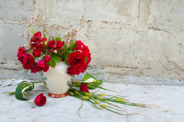 still life bouquet with red roses