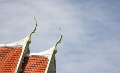 Red tile roof of temple Thailand.