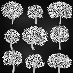 Vector Collection of Chalkboard Style Tree Silhouettes