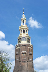 Montelbaanstoren tower in Amsterdam, Netherlands.