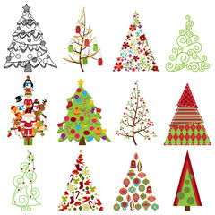 Vector Collection of Stylized Christmas Trees