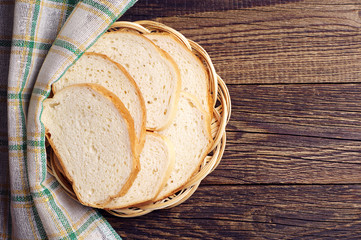 Wicker plate with slices white bread