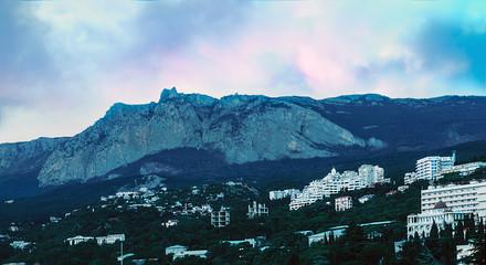 sunset over night Yalta and Ai-Petri Mountain