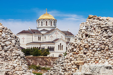 view of Vladimir Cathedral in Tauric Chersonesos, Sevastopol cit