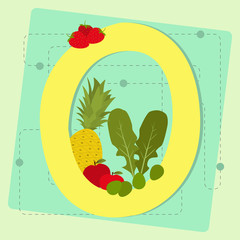 "Letter ""o"" from stylized alphabet with fruits and vegetables"