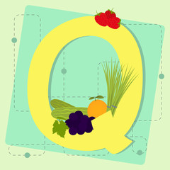 "Letter ""q"" from stylized alphabet with fruits and vegetables"