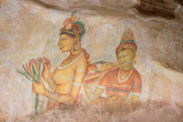 Ancient cave paintings in Sigiriya, Sri Lanka