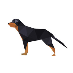 Illustration of abstract origami rotteweiler dog