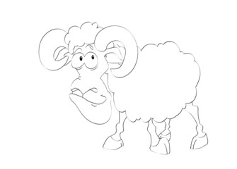 Contour of funny aries on the isolated white background