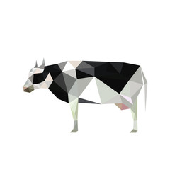 Illustration of origami cow with spots isolated on white backgro