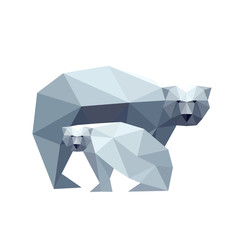 Illustration of polygonal bear with cub isolated on white backgr