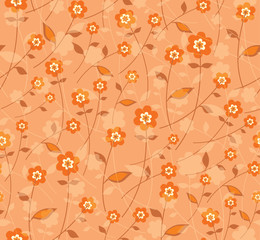Orange color flowers. Seamless pattern.
