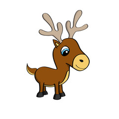 Cartoon illustration of a cute little reindeer with blue eyes