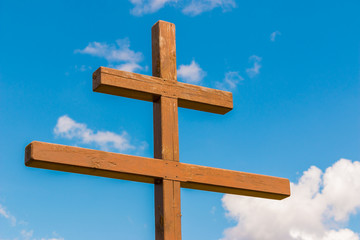 Wooden cross against the sky