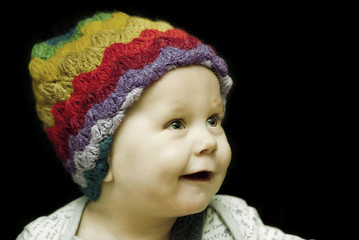 baby with a woolen hat vintage
