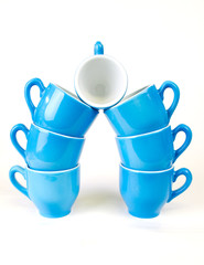 Coffee cup in blue and white