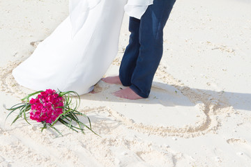bride and groom, beach wedding for two