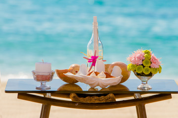 wedding on beach, tropical outdoor wedding set up decoration