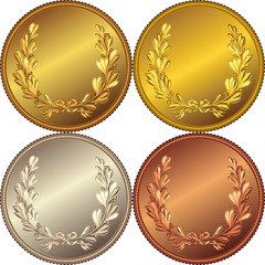set of the gold, silver and bronze coins with the image of a lau