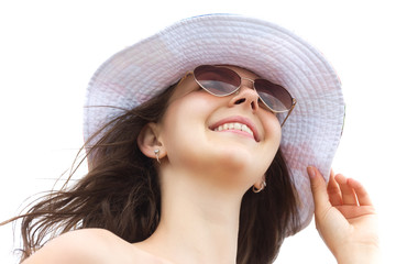 young happy woman on isolated white background