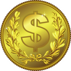 vector gold Money Dollar coin