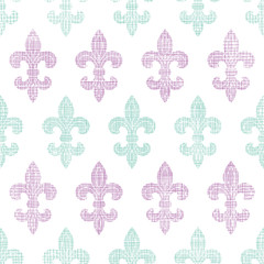 Abstract textile fleur de lis stripes seamless pattern